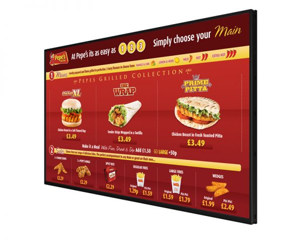 "55"" Digital Menu Screen LifeSize Touch"