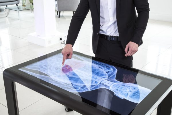 Touchscreen table for events, trade shows, trade booths and exhibition stands.