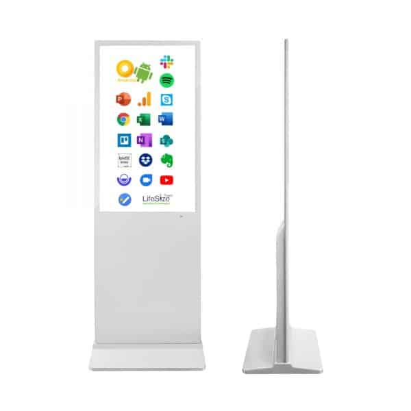 White thirty two inch touch screen totem freestanding